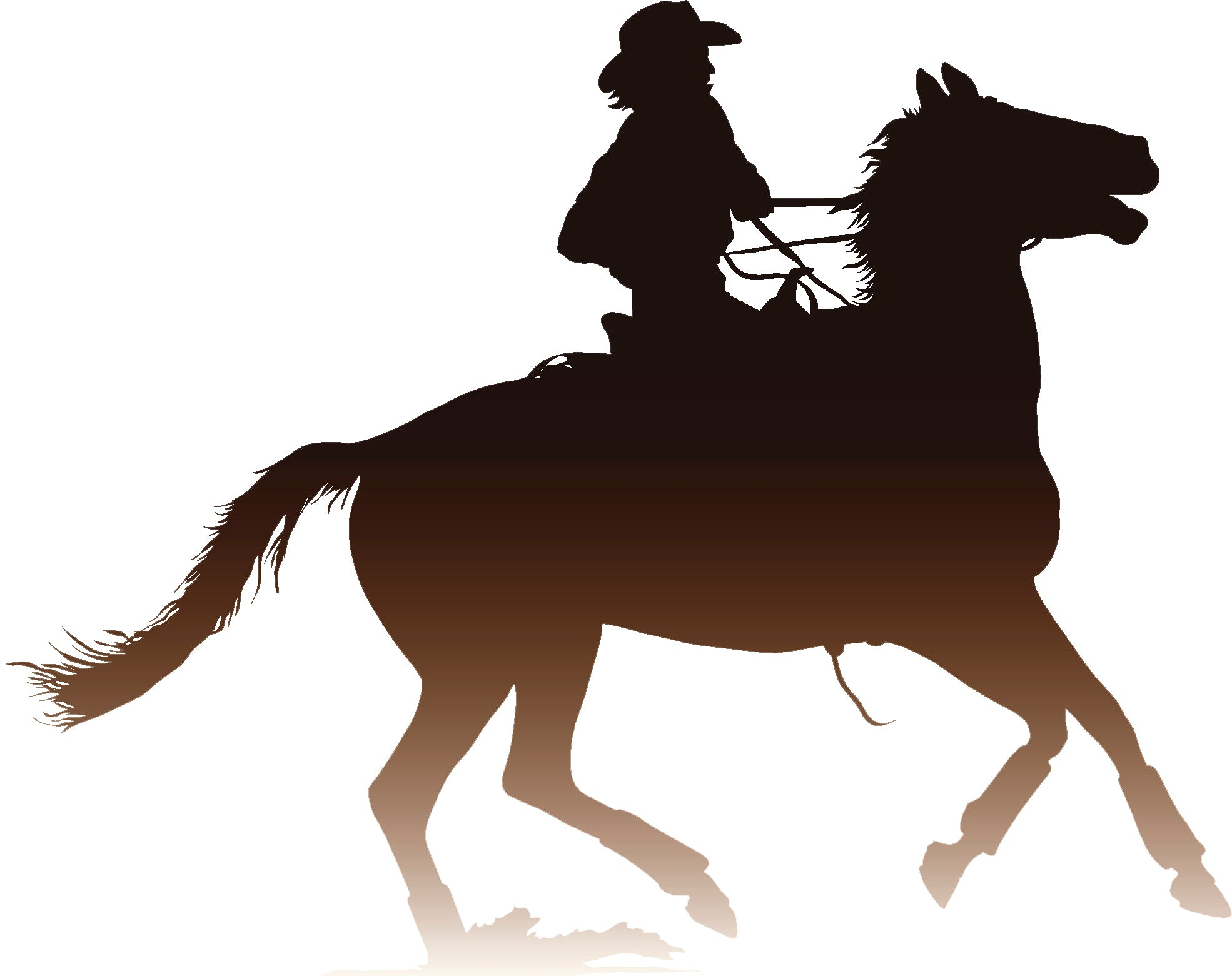 Cool Western Cowboy Sunset Ombre Cartoon Silhouette #7 Vinyl Decal Sticker