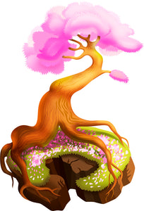 Cool Whimsical Floating Island with Tree Cartoon - Pink Vinyl Decal Sticker