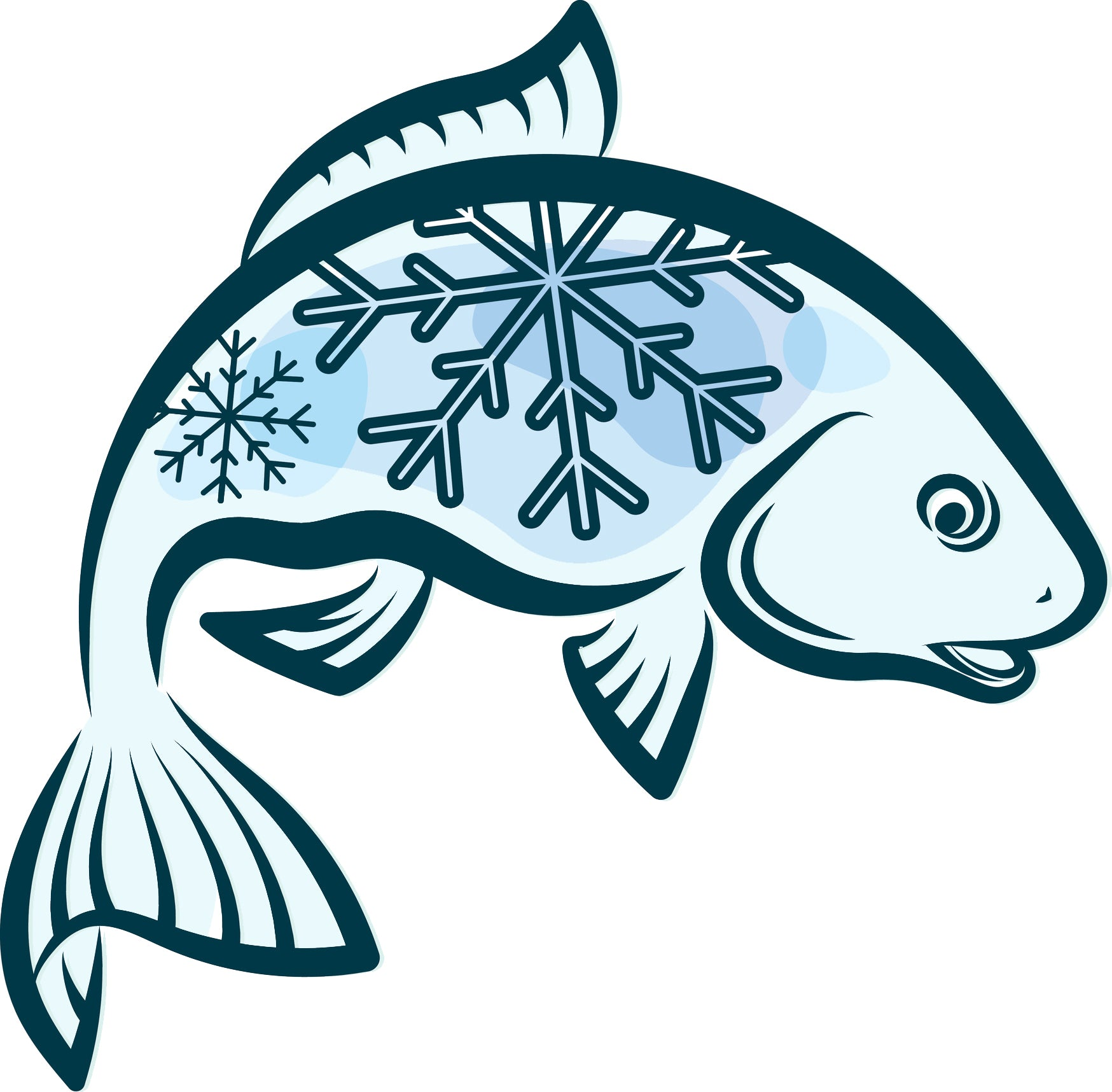 Cool Winter Blue Fisherman Fish with Snowflakes  Cartoon Vinyl Decal Sticker
