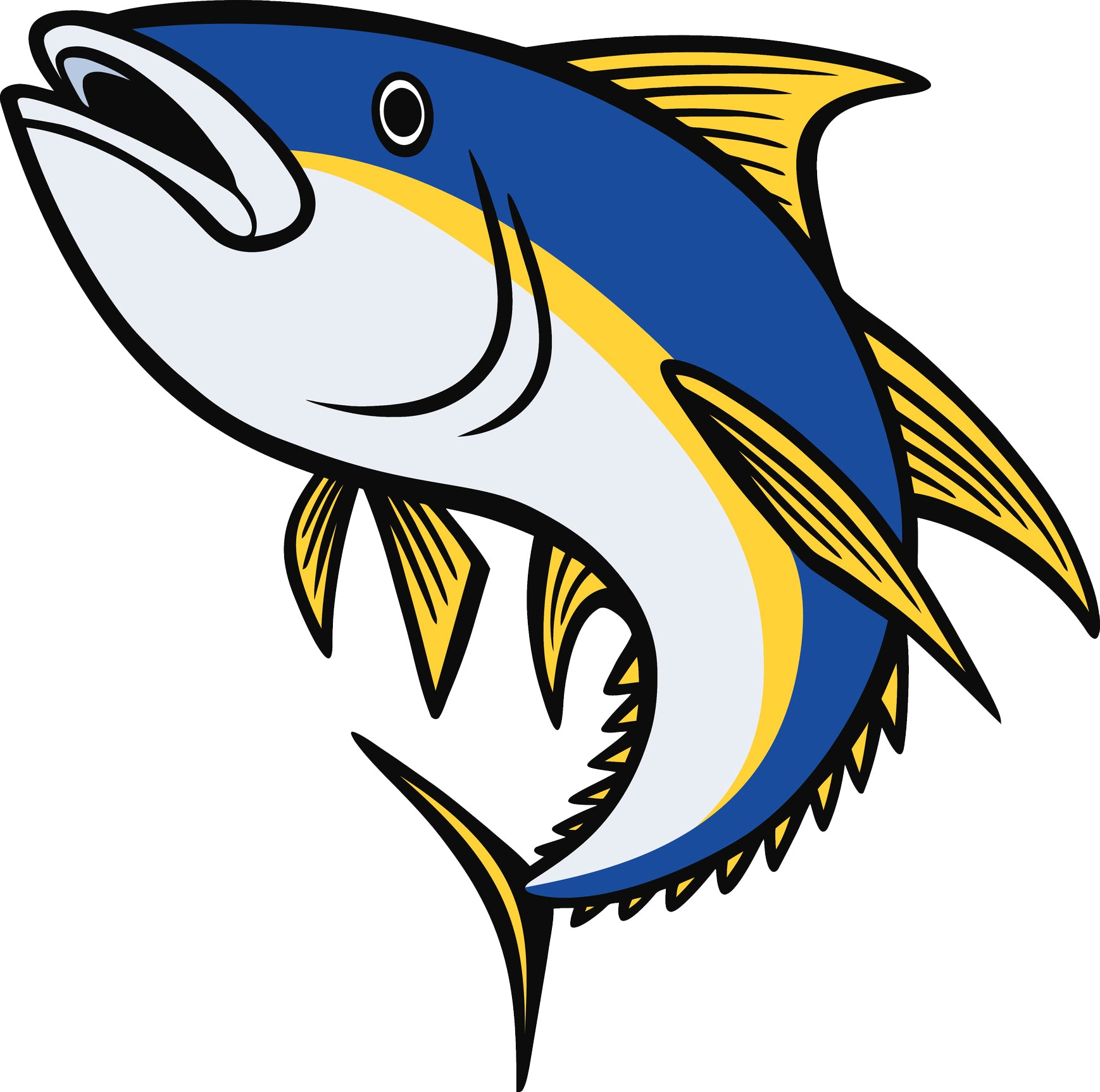 Cool Yellow Fin Tuna Cartoon Vinyl Decal Sticker