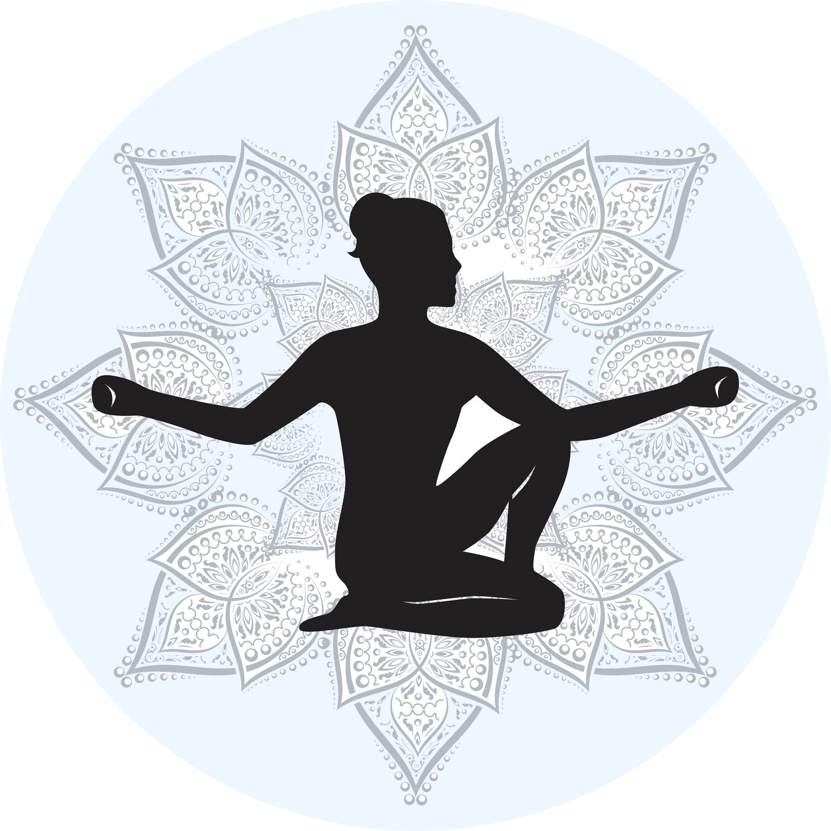 Cool Yoga Yogi Silhouette with Mandala Flower Background - Blue #2 Vinyl Decal Sticker