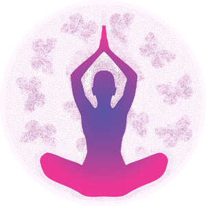 Cool Yoga Yogi Silhouette with Mandala Flower Background - Pink Vinyl Decal Sticker