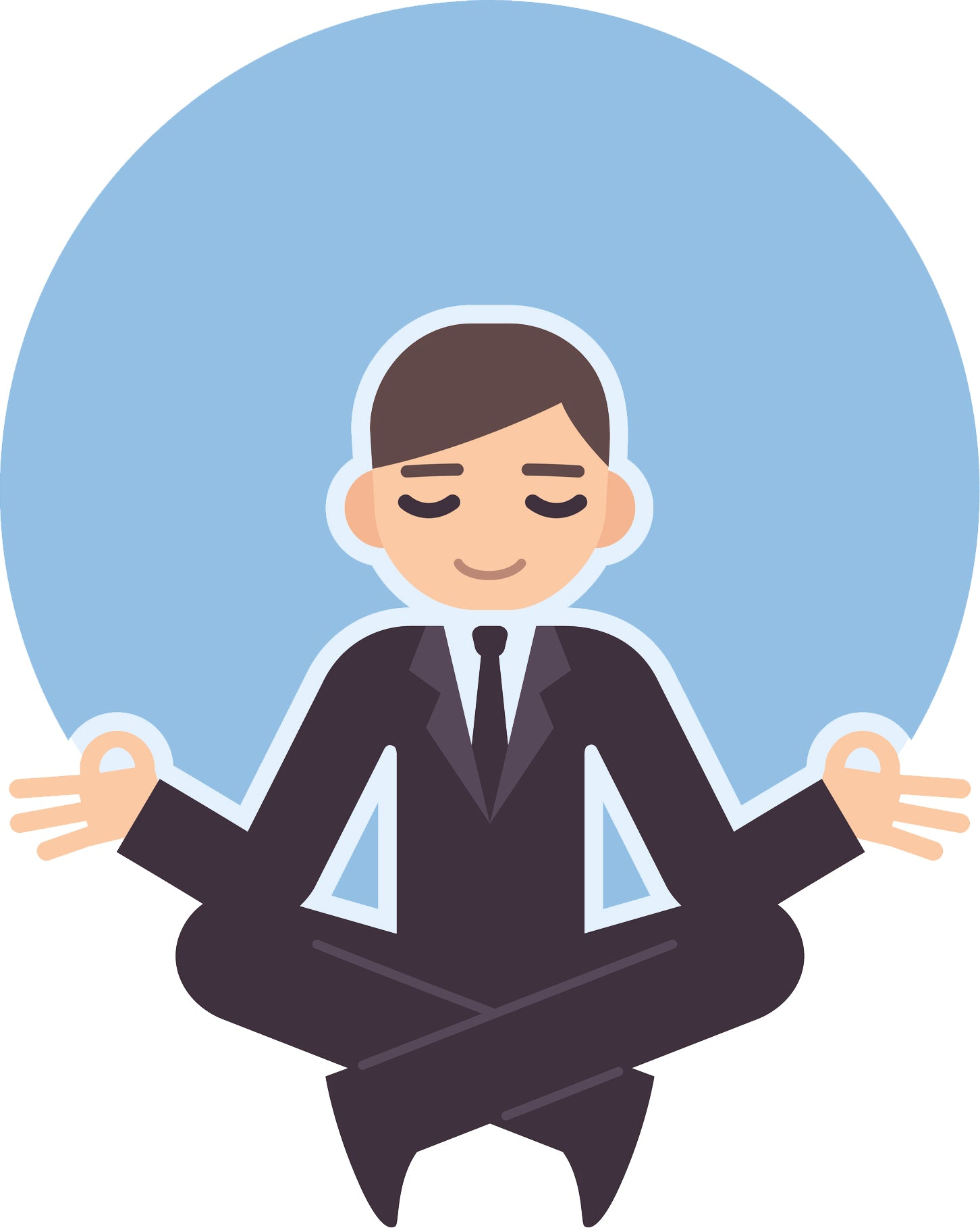 Cool Zen Business Man Yoga Yogi Cartoon Icon Vinyl Decal Sticker