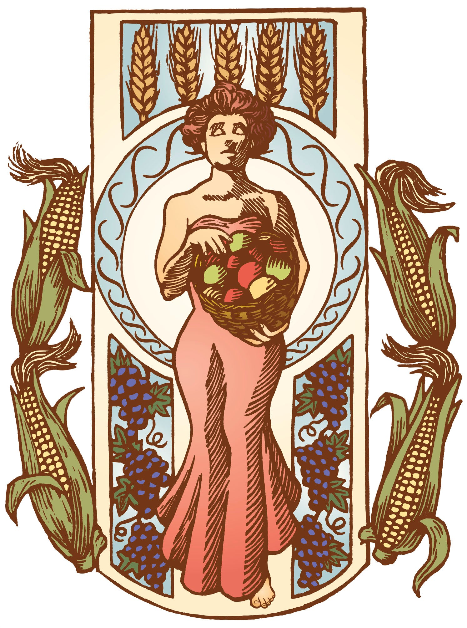 Corn, Wheat, and Grape Harvest Goddess Vinyl Decal Sticker