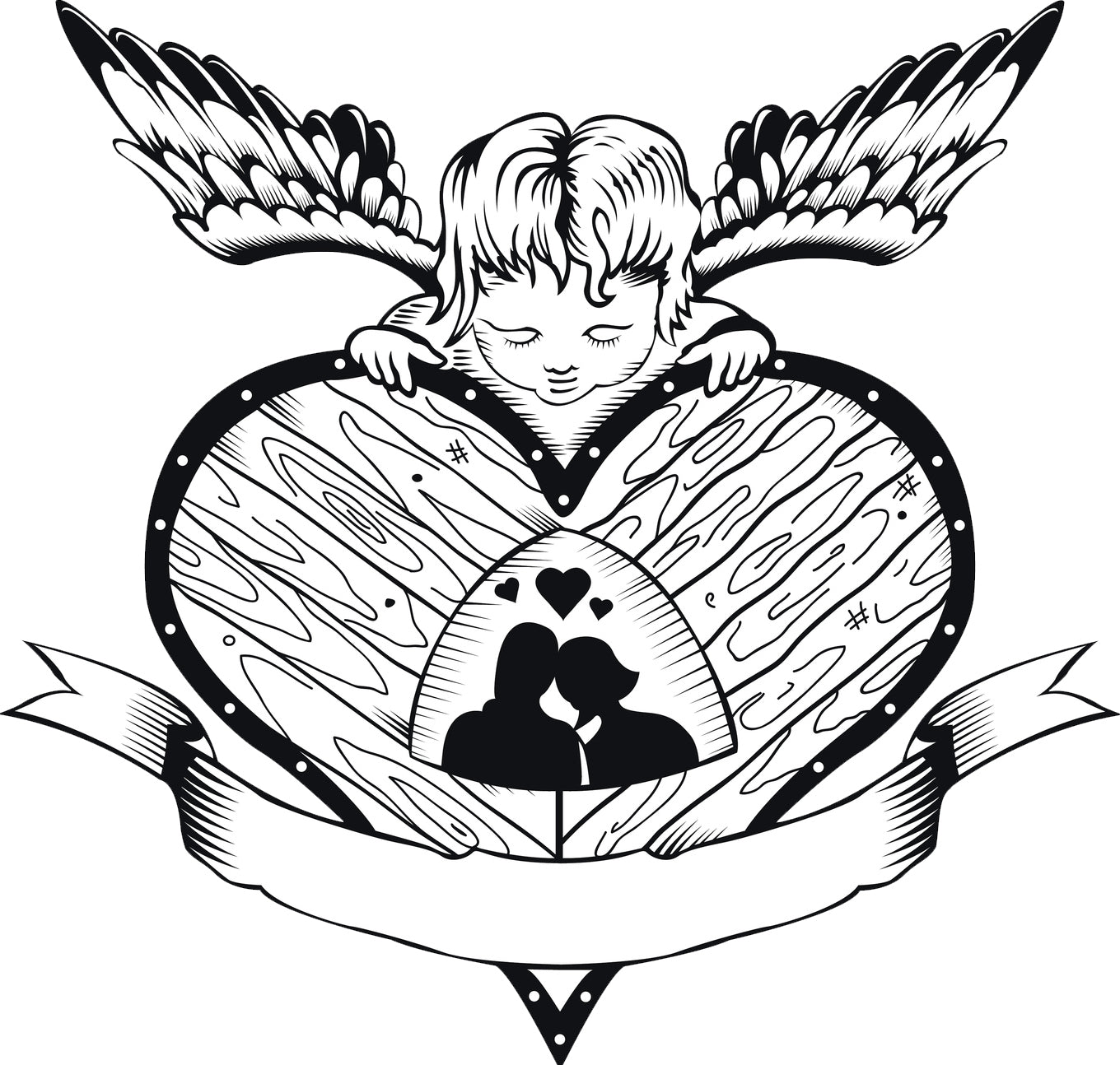 Couple in Love Silhouette in Heart with Cupid Cartoon Vinyl Decal Sticker