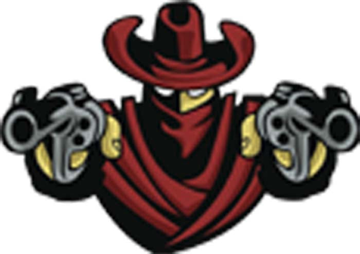 Cowboy Western Hold Up Cartoon Bandit with Pistol Guns Vinyl Decal Sticker