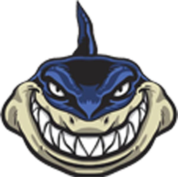 Creepy Scary Smiling Evil Shark - Blue Vinyl Decal Sticker