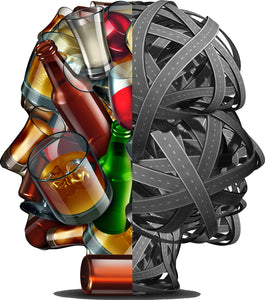 Creepy Abstract Alcohol and Crossroads Human Head Silhouette Vinyl Decal Sticker