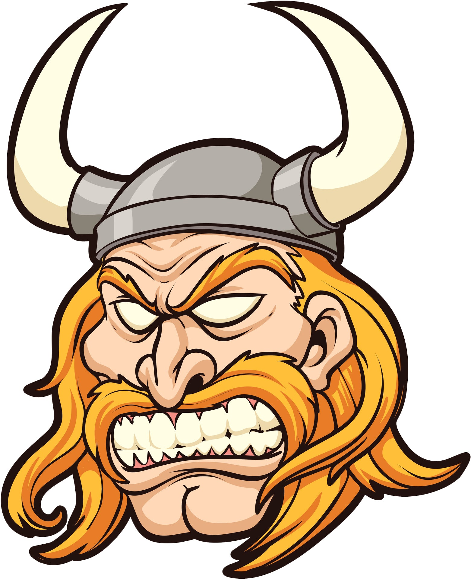 Creepy Angry Blonde Viking Soldier Cartoon Vinyl Decal Sticker