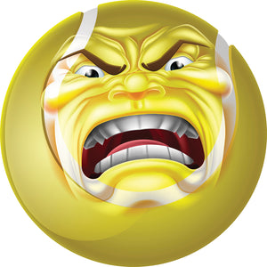 Creepy Angry Yellow Tennis Ball Cartoon Vinyl Decal Sticker