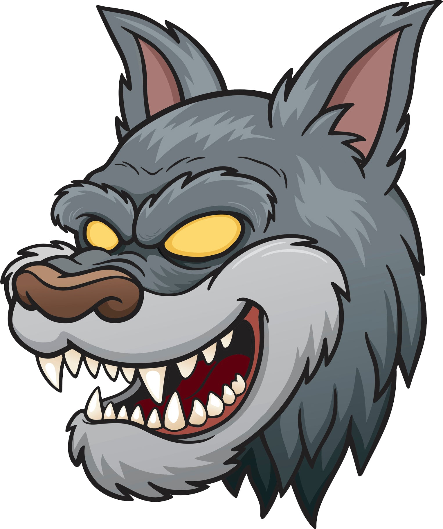 Creepy Angry Zoo Animal Head Cartoon - Wolf Vinyl Decal Sticker