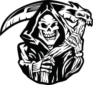 Creepy Black and White Grimm Reaper Skeleton Halloween Cartoon Vinyl Decal Sticker