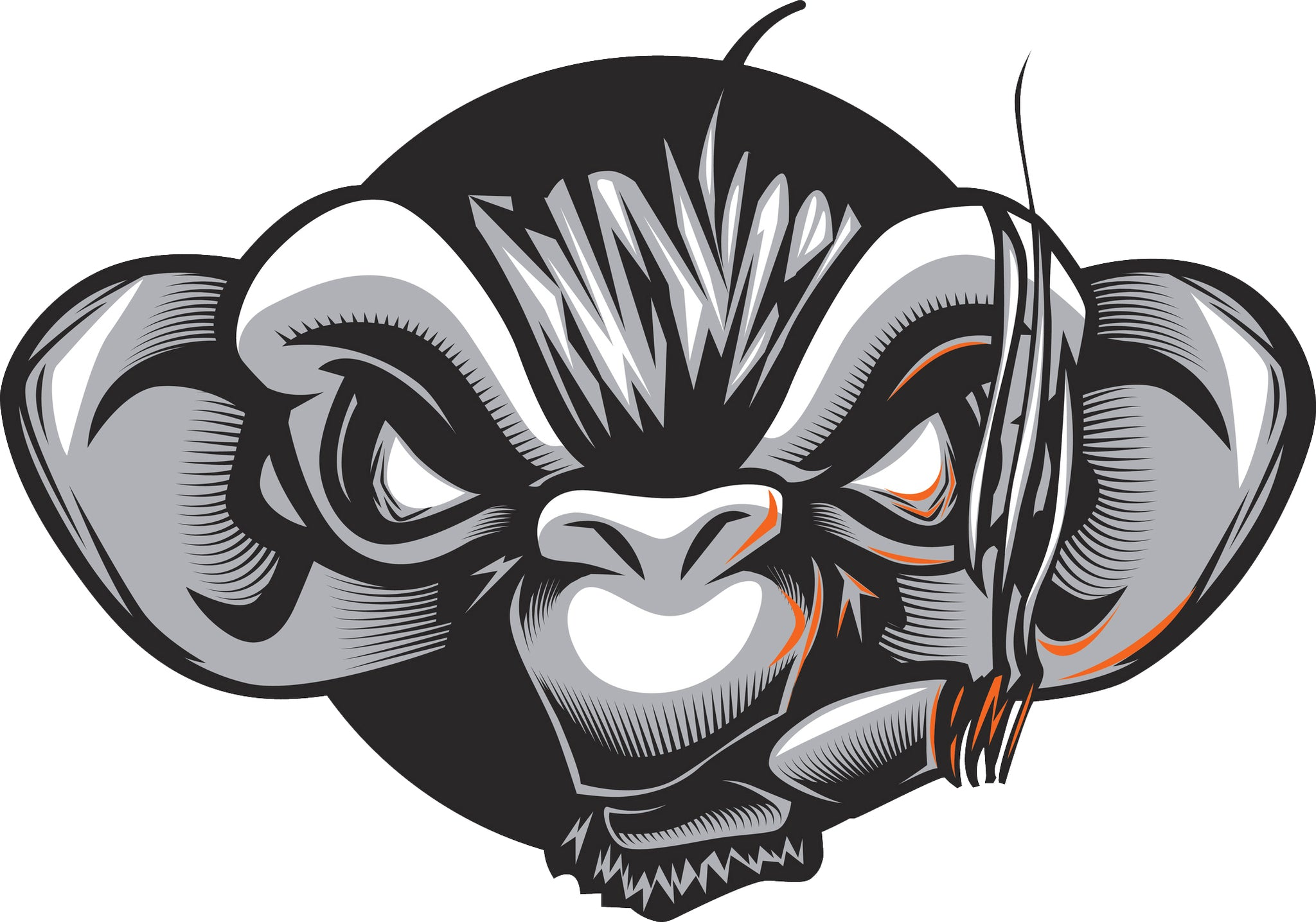 Creepy Black and White Monkey Face with Cigar Cartoon Vinyl Decal Sticker