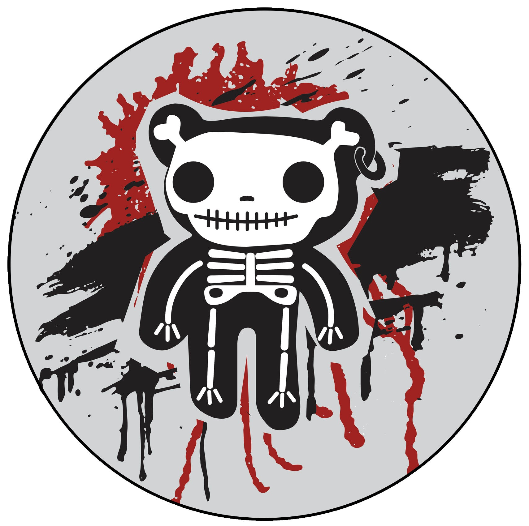Creepy Bloody Teddy Bear Skeleton Icon Vinyl Decal Sticker