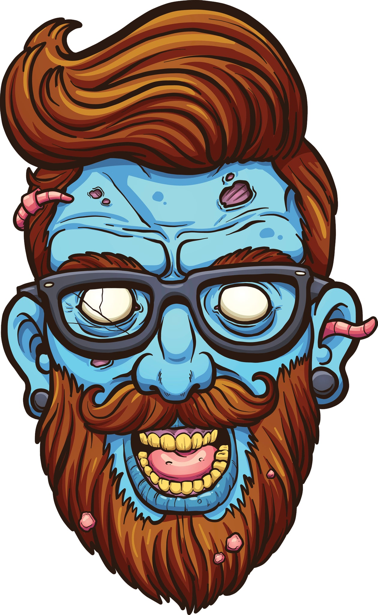 Creepy Blue Zombie Hipster with Beard Cartoon Vinyl Decal Sticker
