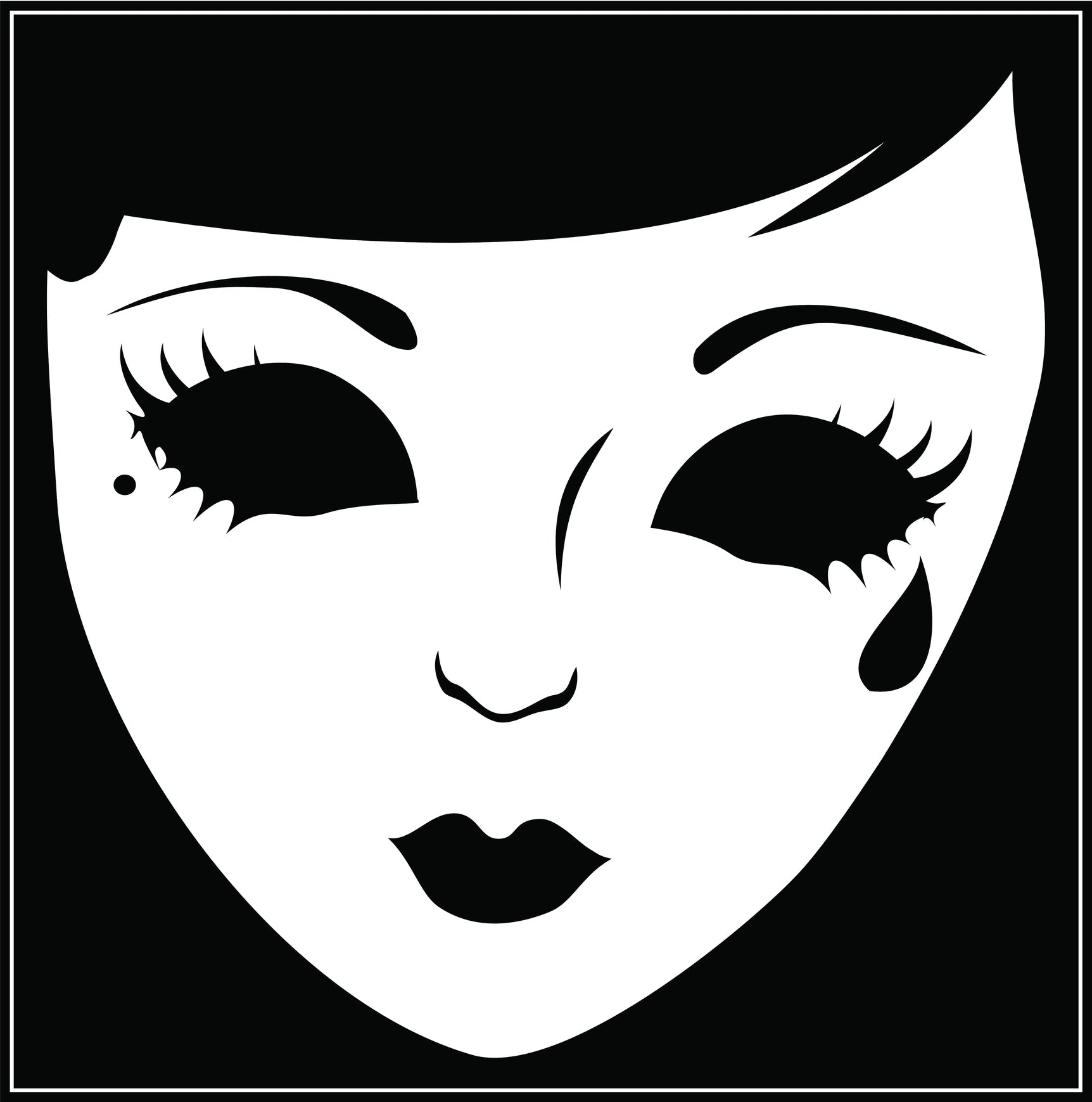 Creepy Emo Punk Demon Girl Face with Black Eyes Border Around Image As Shown Vinyl Decal Sticker