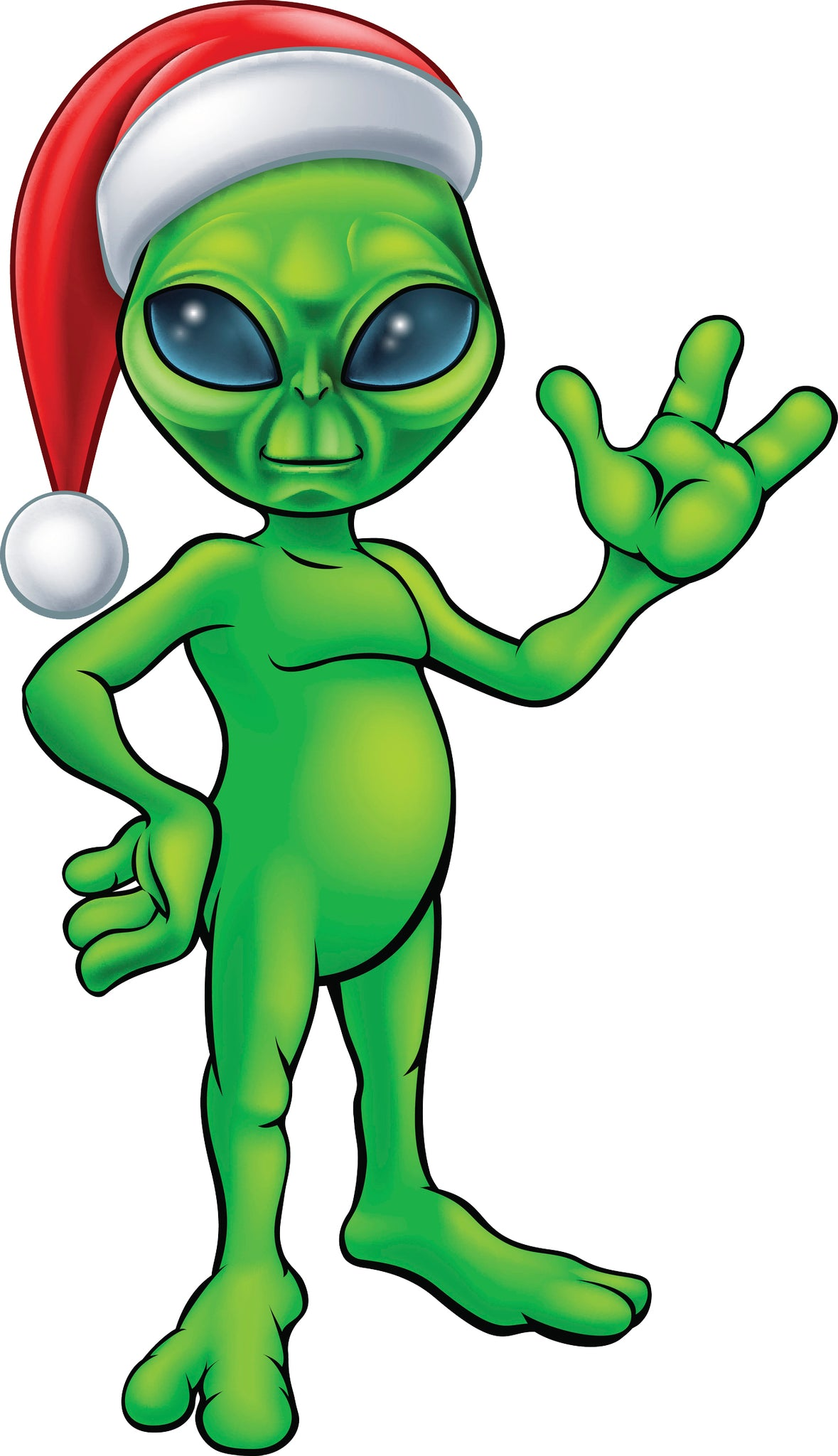 Creepy Green Alien with Santa Hat Cartoon Vinyl Decal Sticker