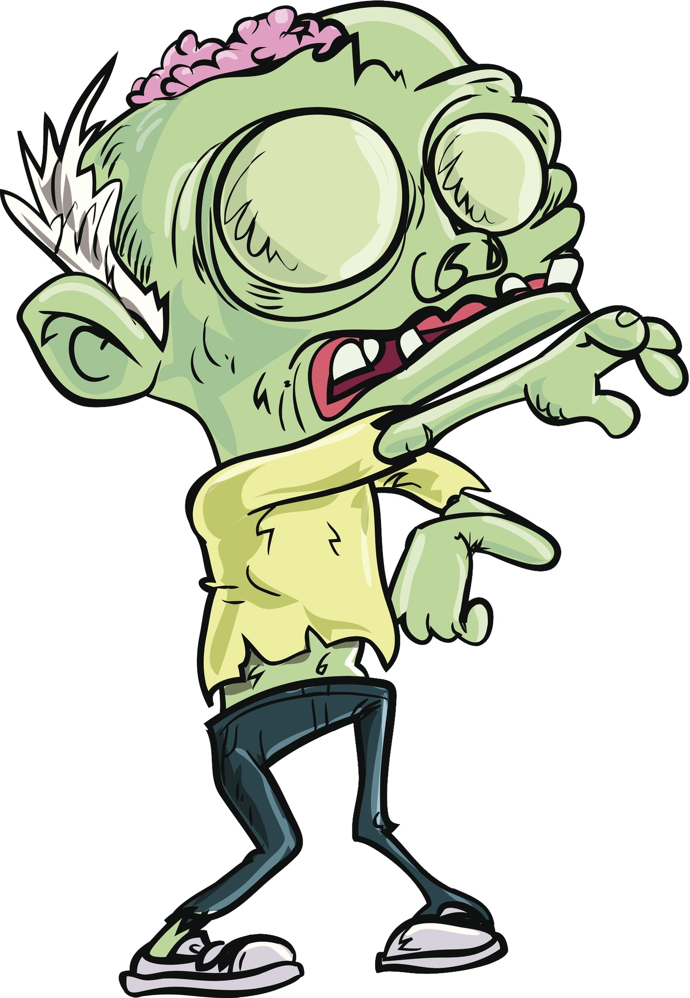 Creepy Green Zombie with Open Skull Vinyl Decal Sticker