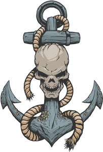 Creepy Old Sail Anchor with Skull Vinyl Decal Sticker