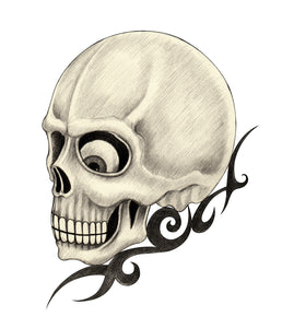 Creepy Pencil Sketch Skull with Swirls Vinyl Decal Sticker