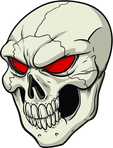Creepy  Red Eyed Cracked Skull Cartoon Vinyl Decal Sticker
