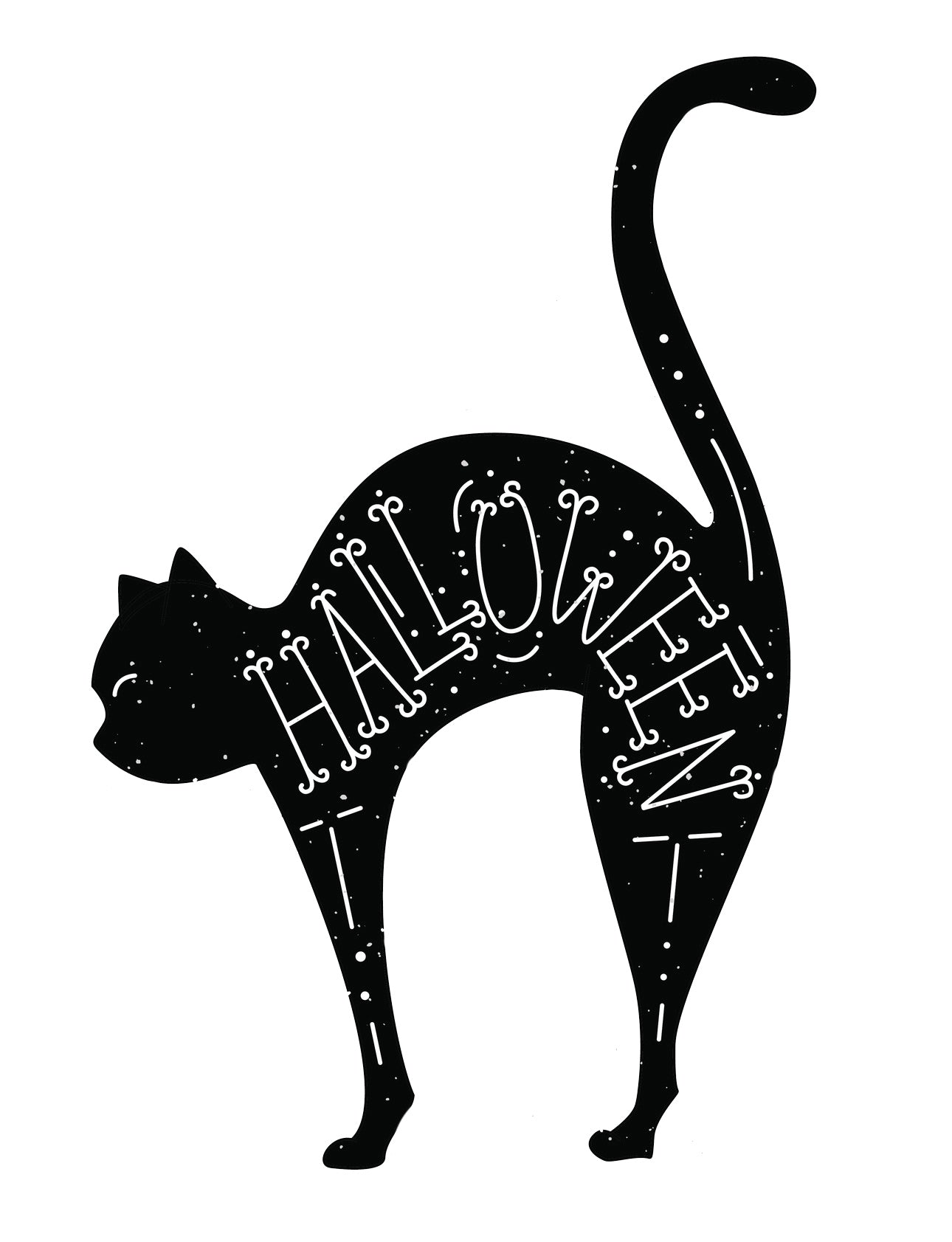 Creepy Scared Halloween Black Bad Luck Kitty Cat Vinyl Decal Sticker
