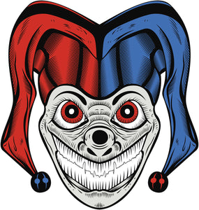 Creepy Scary Halloween Jester Joker Clown Skull Cartoon #1 Vinyl Decal Sticker