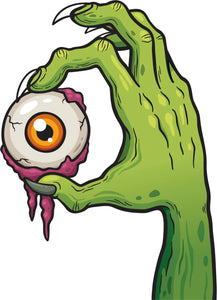 Creepy Scary Vintage Retro Monster Cartoon - Zombie Hand and Eye Vinyl Decal Sticker