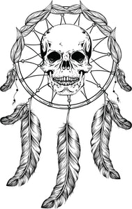Creepy Skull in Feather Dream Catcher Drawing Vinyl Decal Sticker