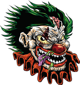 Creepy Undead Dead Zombie Clown Cartoon Vinyl Decal Sticker