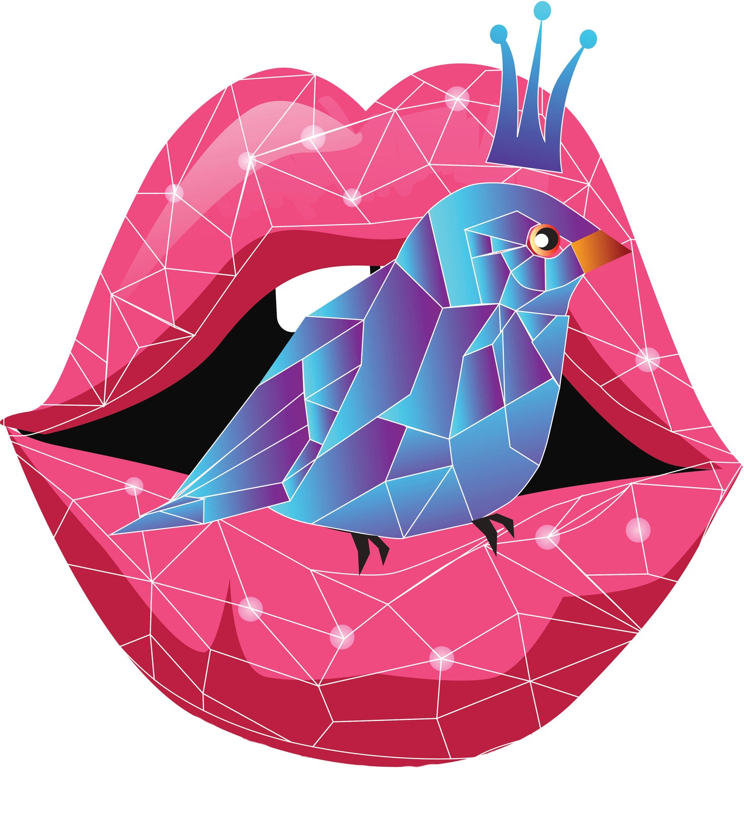 Crystal Glass Style Lips and Queen Bird Vinyl Decal Sticker