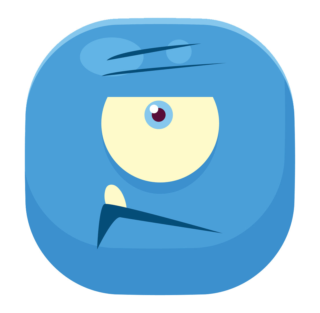 Cube Monster Cartoon Emoji - Blue Angry Cyclop Vinyl Decal Sticker