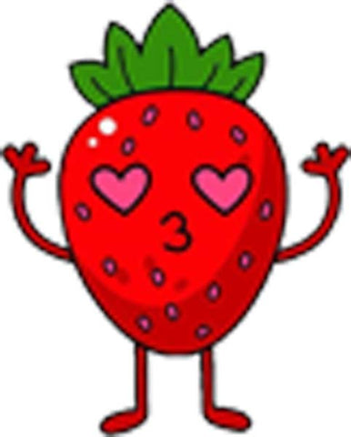 Cute Adorable Kawaii Healthy Lifestyle Eating Vegetables Fruits Nursery Cartoon - Strawberry Vinyl Decal Sticker