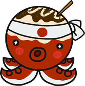 Cute Kawaii Japanese Food Cartoon Emoji - Takoyaki Octopus Chef Vinyl Decal Sticker
