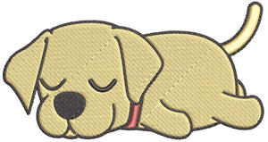 Iron on / Sew On Patch Applique Cute Sleepy Lazy Labrador Puppy Dog Cartoon - Labrador Embroidered Design