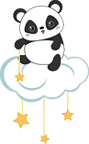 Cute Sweet Baby Nursery Animal on Starry Cloud Cartoon - Panda Bear Vinyl Decal Sticker