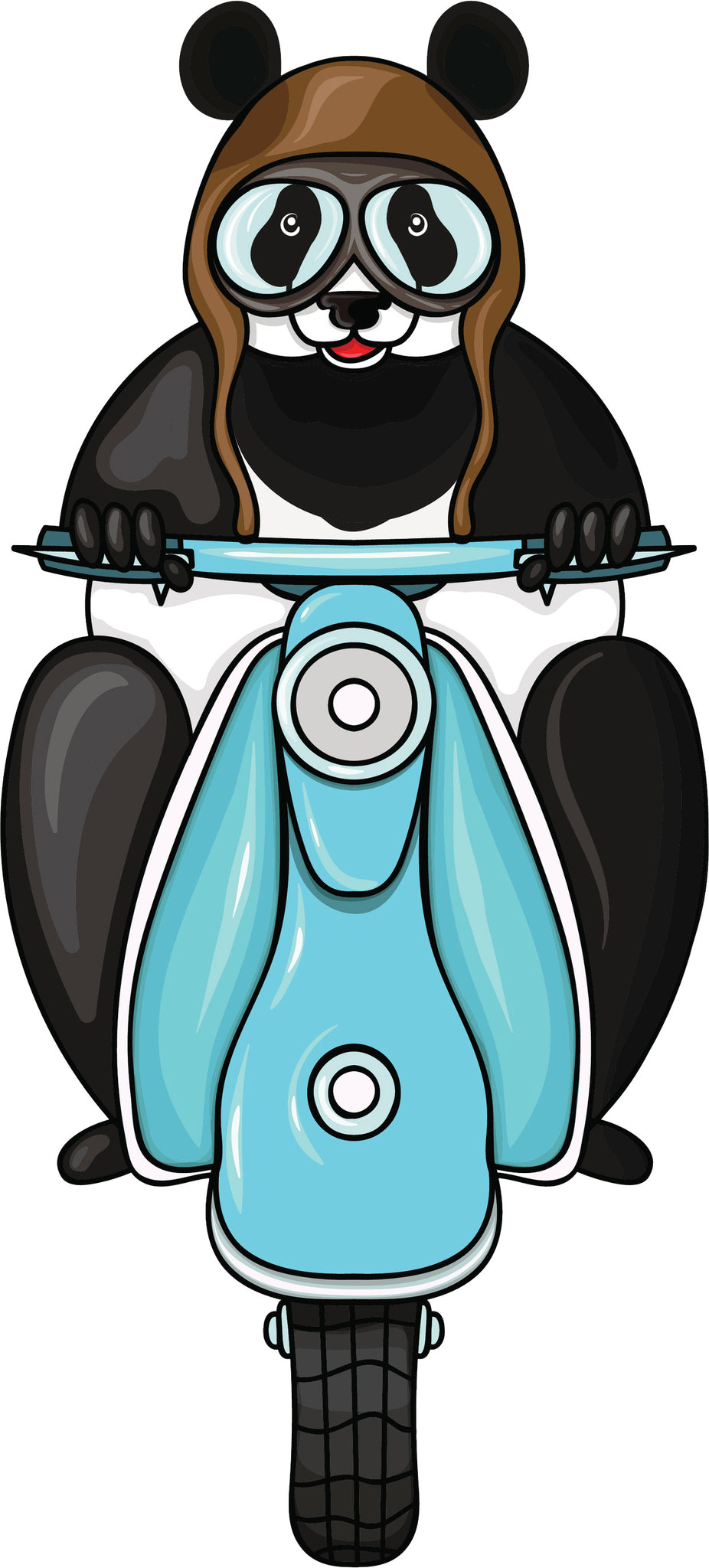 Cute Adorable Black And White Panda Wearing  Hat Goggles Riding Sky Blue Vespa Cartoon Vinyl Decal Sticker