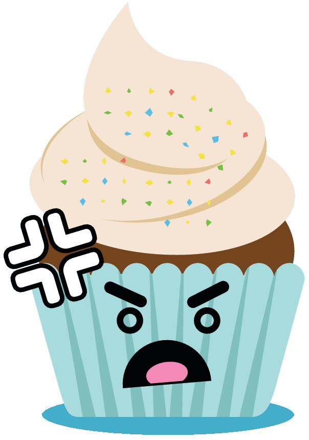Cute Adorable Emoji Cupcake - Angry #7 Vinyl Decal Sticker