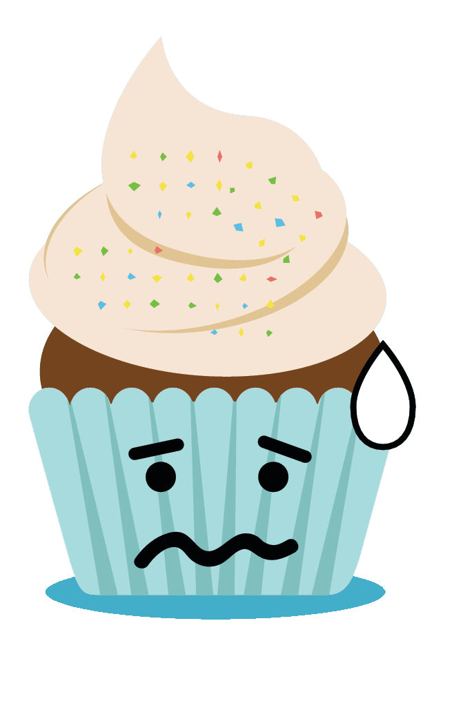 Cute Adorable Emoji Cupcake - Nervous Anxious #9 Vinyl Decal Sticker