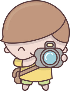 Cute Adorable Kawaii Adult Career Cartoon Emoji - Photographer Vinyl Decal Sticker
