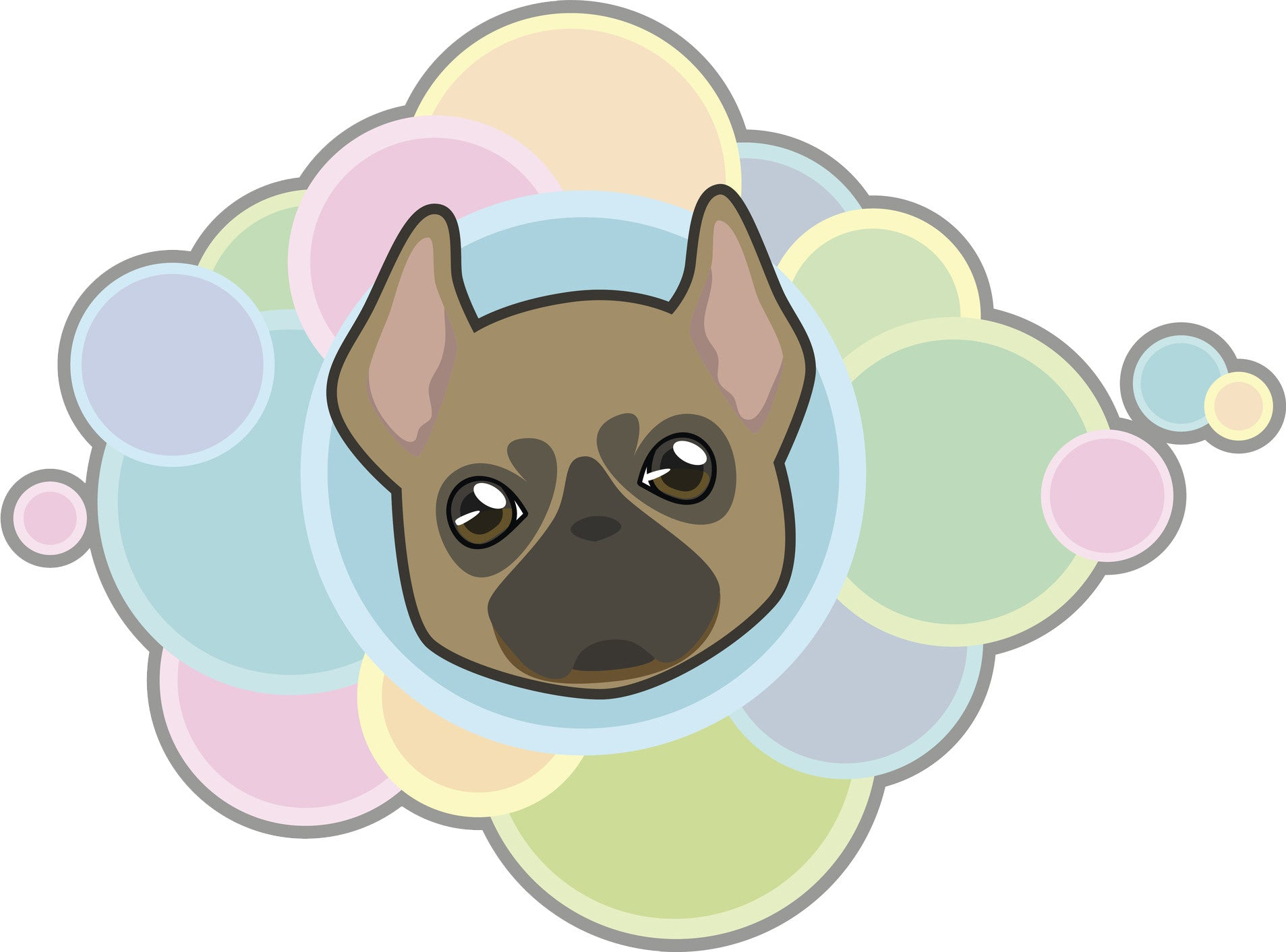 Cute Adorable Kawaii Puppy Dog Cartoon with Rainbow Bubbles - Bully Vinyl Decal Sticker
