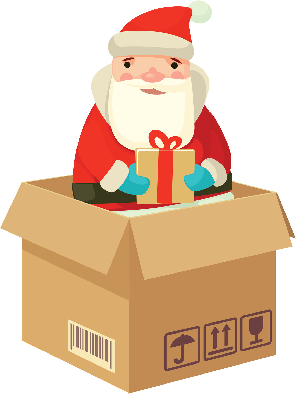 Cute Adorable Santa Delivery in Package Box Vinyl Decal Sticker
