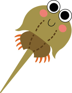 Cute Adorable Sea Creature  Cartoon Emoji - Horseshoe Crab Vinyl Decal Sticker
