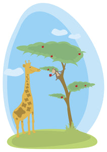 Cute African Savannah Landscape with Giraffe and Monkey Vinyl Decal Sticker