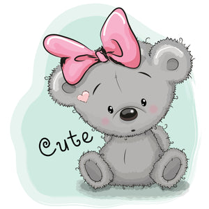 Cute Baby Bear with Pink Bow Vinyl Decal Sticker