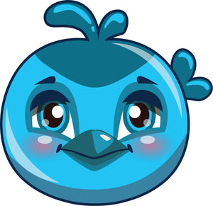Cute Baby Bird Chick Face Cartoon Emoji - Blue Vinyl Decal Sticker