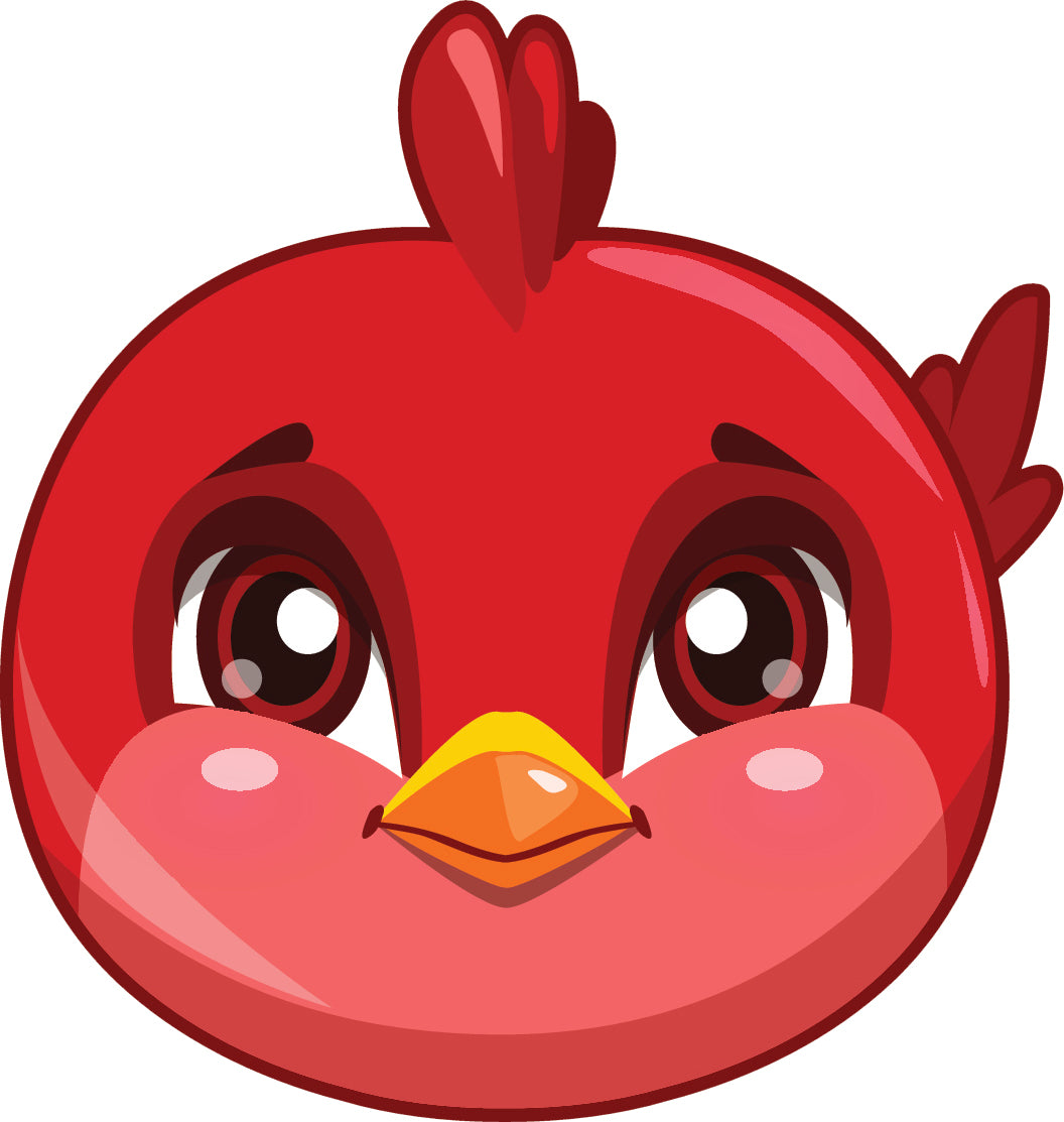 Cute Baby Bird Chick Face Cartoon Emoji - Red Vinyl Decal Sticker