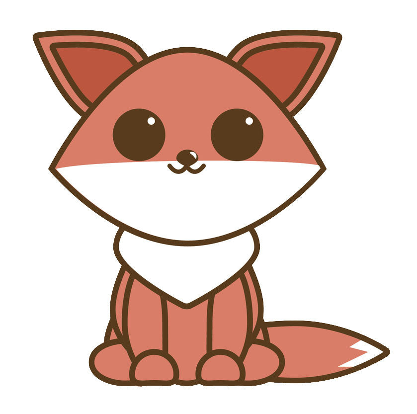 Cute Baby Fox Cartoon Icon Vinyl Decal Sticker