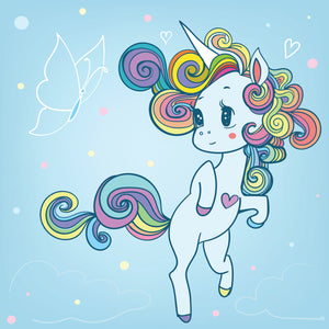 Cute Baby Rainbow Unicorn with Butterfly Vinyl Decal Sticker