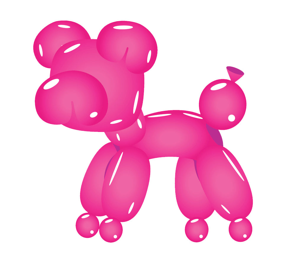 Cute Birthday Party Balloon Animal - Pink Bear Vinyl Decal Sticker